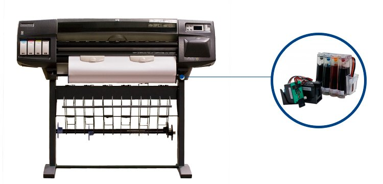 Плоттер HP DesignJet 1050c plus с СНПЧ